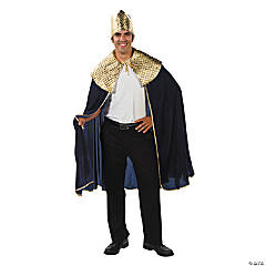 Men's Blue Wise Man's Cape with Crown Costume