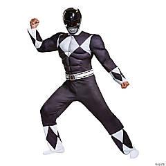 Men's Classic Muscle Mighty Morphin Power Rangers Black Ranger Costume