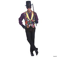 Mens' Mardi Gras Costume Vest & Bow Tie Set