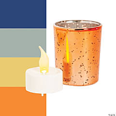 Mercury Glass Votive Candle Holders with Battery-Operated Candles