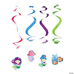 Mermaid Party Hanging Swirl Decorations - 12 Pc.