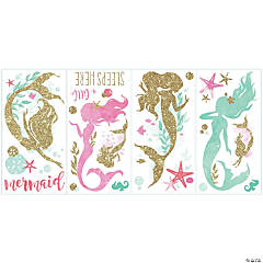 Mermaid Peel & Stick Wall Decals With Gltter