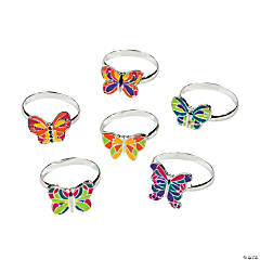 Metal Adjustable Butterfly Rings