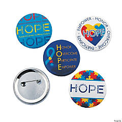 Metal Autism Hope Buttons