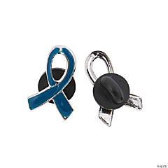 Metal Blue Awareness Ribbon Pins