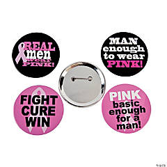 Metal Breast Cancer Awareness Buttons For Men