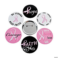 Metal Breast Cancer Awareness Buttons