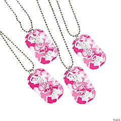 Metal Breast Cancer Awareness Camouflage Dog Tag Necklaces