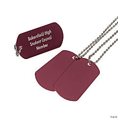 Metal Burgundy Personalized Dog Tag Necklaces