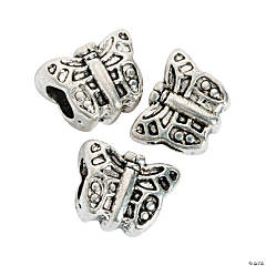 Metal Butterfly Large Hole Beads - 12mm