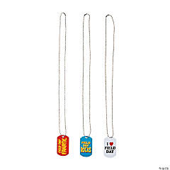 Metal Field Day Dog Tag Necklaces