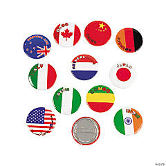 Metal Flags Around the World Mini Buttons