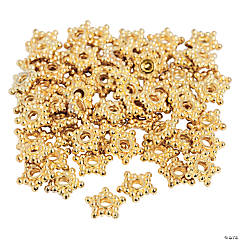 Metal Goldtone Star Spacer Beads - 6mm