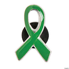 Metal Green Awareness Ribbon Pins