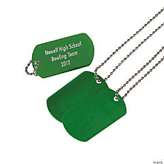 Metal Green Personalized Dog Tag Necklaces
