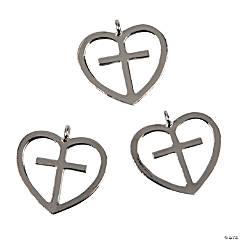 Metal Heart Cross Charms
