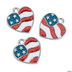 Metal Heart Flag Enamel Charms