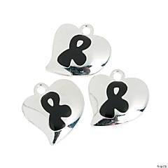 Metal Heart-Shaped Black Awareness Ribbon Charms