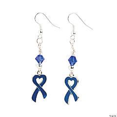 Metal Heart-Shaped Blue Ribbon Earrings Craft Kit