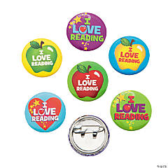 "Metal ""I Love Reading"" Mini Buttons"