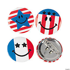 Metal Mini Patriotic Smile Face Buttons