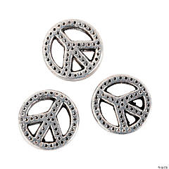 Metal Peace Sign Large Hole Beads - 10mm