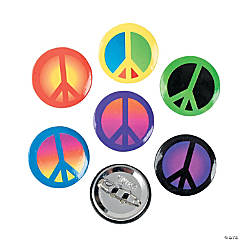 Metal Peace Sign Mini Buttons