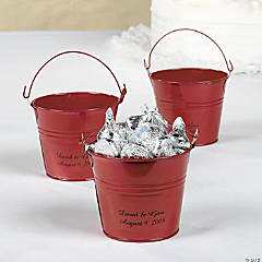 Metal Personalized Red Tin Pails