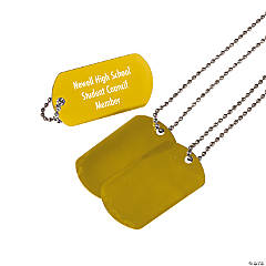Metal Personalized Yellow Dog Tag Necklaces