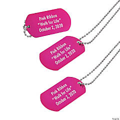 Metal Pink Personalized Dog Tags