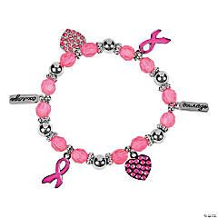 Metal Pink Ribbon Charm Bracelets