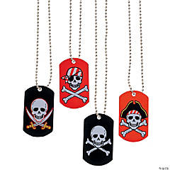 Metal Pirate & Crossbones Dog Tag Necklaces