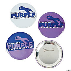 Metal Purple Awareness Ribbon Buttons