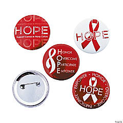 Metal Red Hope Buttons