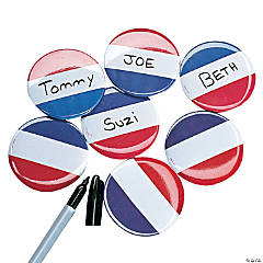 Metal Red, White And Blue Name Buttons