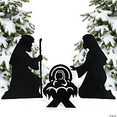 Metal Silhouette Nativity Yard Signs