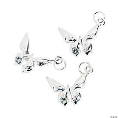 Metal Silvertone Butterfly Charms with Rhinestone