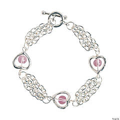 Metal Silvertone Heart Bracelet Craft Kit