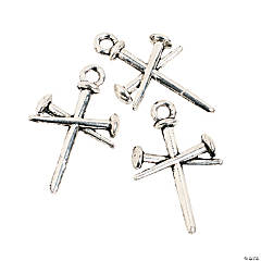 Metal Silvertone Nail Cross Charms