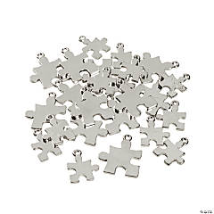 Metal Silvertone Puzzle Piece Charms