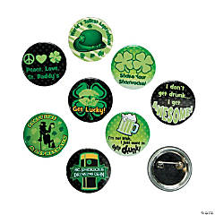 Metal St. Patrick's Day Glow-in-the-Dark Party Buttons