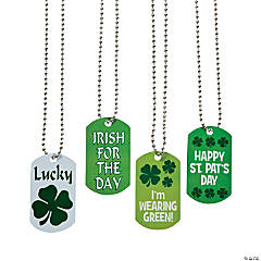 Metal St. Patrick's Day Dog Tag Necklaces