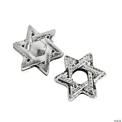 Metal Star of David Large Hole Beads