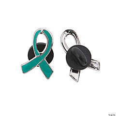 Metal Teal Awareness Ribbon Pins
