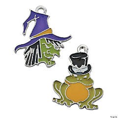 Metal Ugly Witch & Toad Enamel Charms - 18mm - 20mm x 22mm