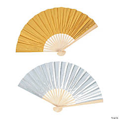 Metallic Fabric Folding Hand Fans