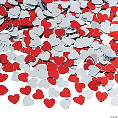 Metallic Foil Red & Silver Heart Confetti