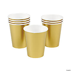 Metallic Gold 9 oz Paper Cups