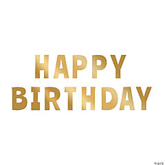 Metallic Gold Happy Birthday Letter Cutouts