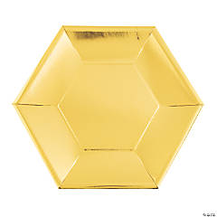 Metallic Gold Hexagon Paper Dinner Plates - 24 Ct.